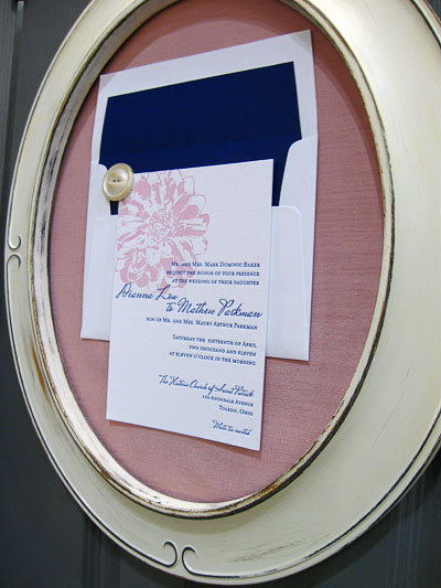 thewhitedress:  I love the idea of displaying an invitation in this way. Great memento.