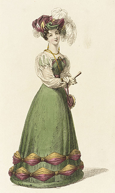 Ackerman's Repository, 1826.  Dinner Dress. There aren't enough green dresses in the world.  And check out those sheer oversleeves.