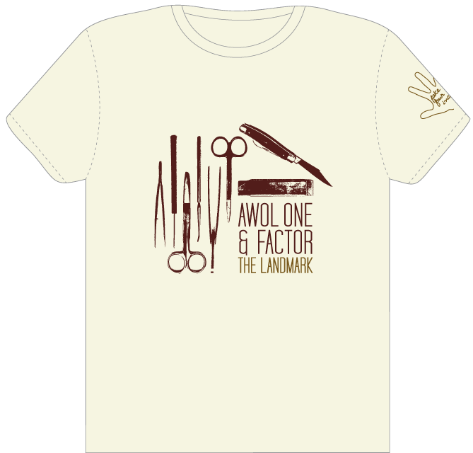 319heads:  Here's the t-shirt design I did for Awol One & Factor's The Landmark — which just dropped yesterday! Today they start their tour alongside Ceschi and Cars & Trains.