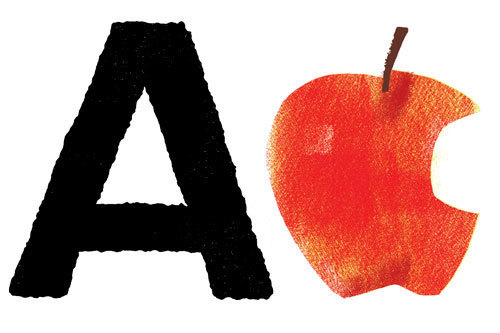 A is for Apple. Font Bureau type, via WeLoveTypography.