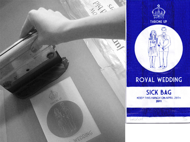 "U.K. graphic designer creates royal wedding souvenir barf bagsCould all the hype about the April 29 royal wedding be making some a little queasy? A new souvenir royal wedding ""sick bag"" (as barf bags are more politely called in the U.K.) invites users to ""keep this handy on April 29th 2011.""Graphic designer Lydia Leith is selling the sacks from her design website for £3 a piece (just under $5). ""The sick bags started as a joke that came up around the dinner table,"" says Ms. Leith. ""Being quite a fan of royal memorabilia I thought it would be a fun alternative thing to make."""