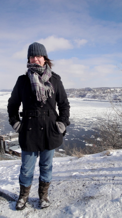 And here I am in Quebec City, standing on the Plains of Abraham with the St. Laurent River below.