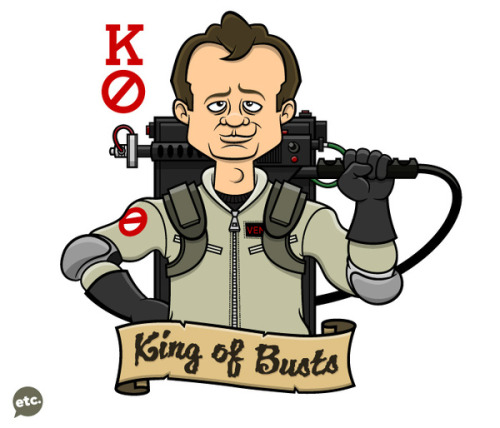 Rad Ghostbusters / playing card illustration by artist Jon Defreest. Dr. Peter Venkman / Bill Murray will always be The King of Busts. Related Rampage: Cocaine Bear The King of Busts by Jon Defreest (Tumblr) (Behance) (Flickr) (Twitter)