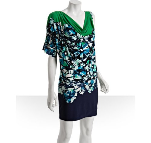 BCBGMAXAZRIA Green Jersey Floral Dress, $71, BlueFly, click through to buy. This would be so fun for a night out - it's a flirty dress without being too revealing.