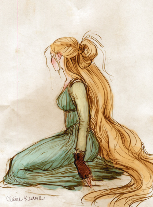 claireonacloud:  Costume design sketch for Rapunzel