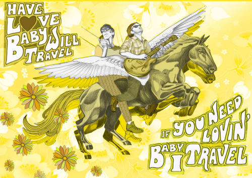 Illustration for the Black Keys version of 'Have love will travel' ..just for a bit of fun.