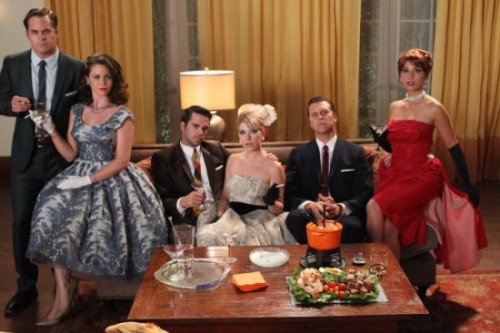 """Urs truly in a red wig & red dress = @NBCPerfect Mad Men homage on tonight at 830pm! xx"" -Olivia Munn Perfect Couples is doing a Mad Men tribute tonight [in a desperate attempt to get viewers]. Munn's not nearly voluptuous enough to pull off Joan, but Christine Woods (far left) looks great."