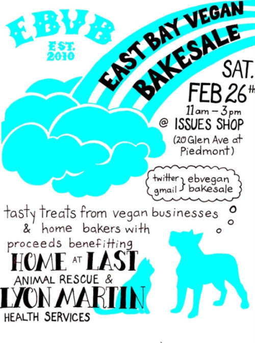 It's the February East Bay Vegan Bakesale and you want to bake for it! So email and let them know. And if not, you want to go to it! All the details are on that rad flyer above and you can check out the info on Fat Bottom Bakery's site. Ow! Oh and perhaps you could make some of these cookies inside of cookies things? I'm pretty sure this is what Cookie Monster jerks it to. And by Cookie Monster, I mean me. And you. ADMIT IT.