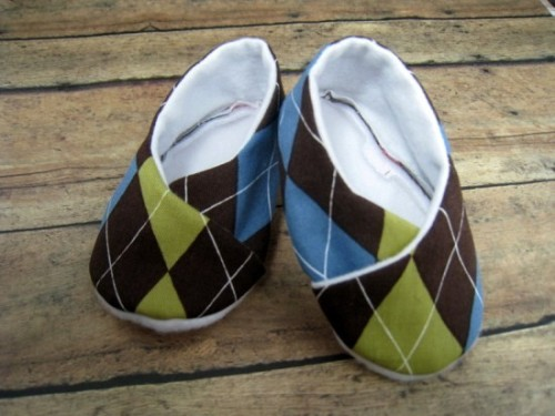 Brown Argyle Baby Kimono Booties by bkchicboutique on Etsy