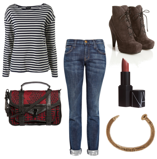 topshop shirtcurrent/elliott jeansproenza schouler bag and shoesnars lipstickgiles & brother bracelet
