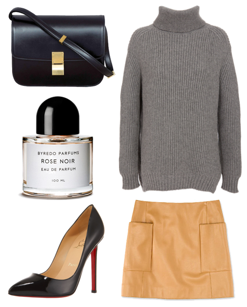 celine bag and jacketzara skirtchristian louboutin shoesbyredo perfume