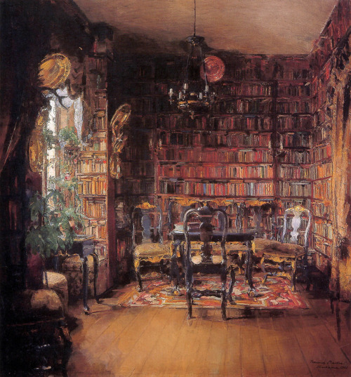 Harriet Backer  The library of Thorval Boeck Sun