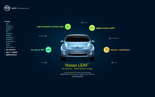 Leaf electric car by Nissan USA  Nissan USA taking the leap ahead with keeping up with everything that is constantly changing, even with the 'nuweb' of sleek Flash free dynamic HTML5 + CSS3 websites thats cropping up and keeping it nice. Good stuff Nissan.