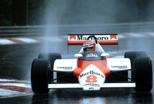 Spa, Belgian Grand Prix (1983) Niki Lauda drives his McLaren MP4-1C in the heavy rain.