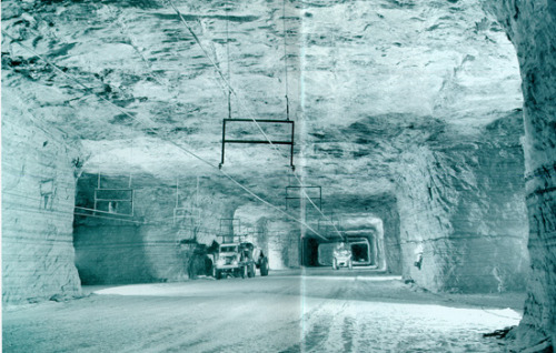 "nprfreshair:  ""Some 1,200 feet beneath the streets of Detroit,"" writes Atlas Obscura, ""runs 100 miles of subterranean roads over an area of more than 1,500 acres. It is the Detroit Salt Mine  and as a Detroit industry it is older than automobiles. As a geological  entity, this salt deposit is older even than the dinosaurs."" (via Pruned)"