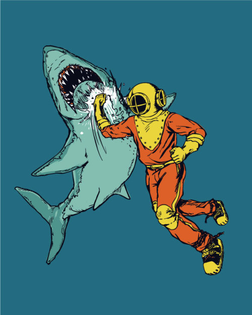 Awesomeness.  ianbrooks:  Shark Punch by huebucket You know what life is missing? More shark punching. Your life, I mean. I punch sharks all the time.  Artist: website / flickr / society6