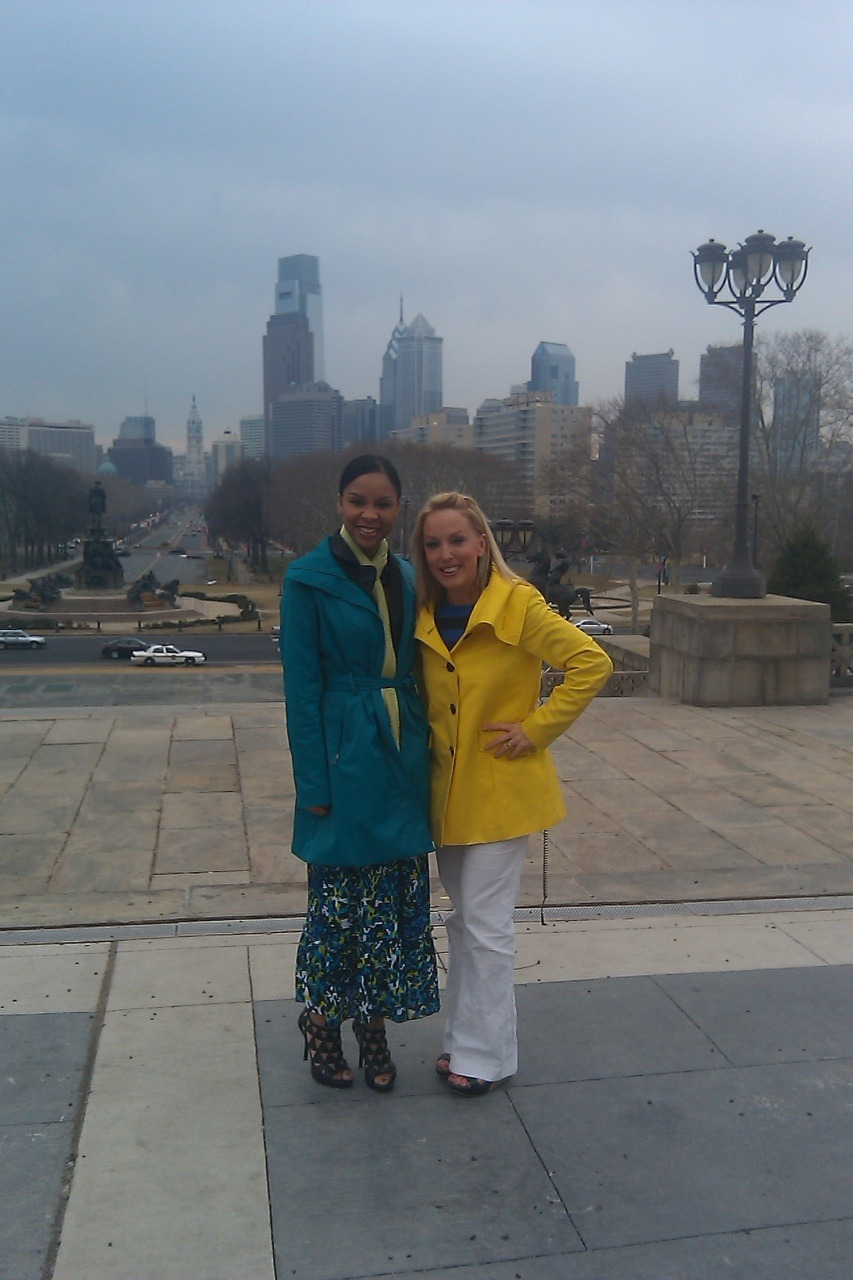Me and Jennaphr Frederick @jennfredfox29 just did the Rocky run in heels at Philly Art Museum! Watch as we chat Spring Fashion Tips on Fox Good Day! #Stylemoms - Nichelle