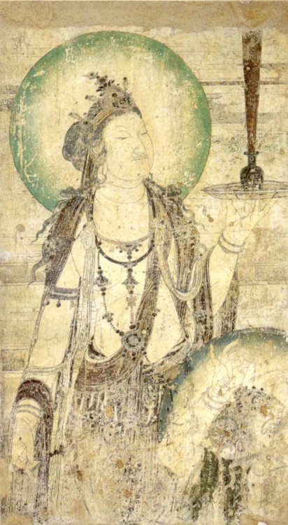 artemisdreaming:  Mural of a Bodhisattva. China, 10th century Chinese mural of a bodhisattva, ink and color on plaster, c. 952, dated to the Later Zhou Period. Bodhisattva:  The term Bodhisattva refers to someone on the path to Awakening. The Mahayana has conceived them as having renounced the ultimate state out of pure compassion towards all beings, and can therefore refers to anyone en route. In non-Mahayana Buddhism, it usually refers either to Maitreya, the Buddha of the Future, or to the historical Buddha Gautama prior to his enlightenment - either during the life in which he became enlightened or in one of the innumerable lives before that in which he was developing the requisite virtues for enlightenment, such as generosity.