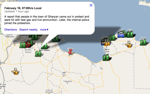 Mapping Pro-Democracy Protests in Libya. @Arasmus takes to Google Maps with what he believes are trusted Twitter accounts to map what's happening inside of Libya.
