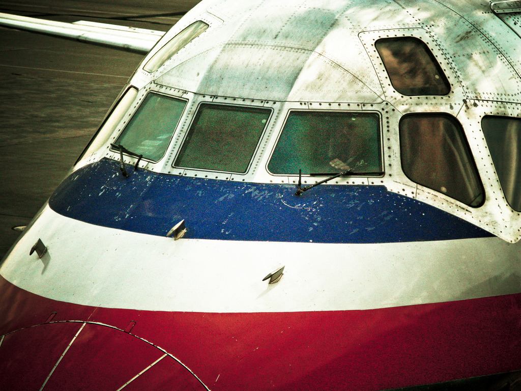 An American MD-80 sitting at O'Hare.