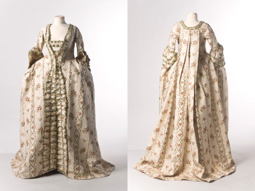 The Charleston Museum is kicking off TEXTILE TUESDAYS today.  Each Tuesday we will post a piece from our textile collection.  Some items have been on exhibit, some will eventually be shown in our new Historic Textiles Gallery and some may be just too fragile to display.  We hope you will enjoy our selection each week – do let us know if there's something in particular you'd like to see on TEXTILE TUESDAY!Sack-back gown, Charleston, SCThis beautiful gown was worn by a member of the Middleton family in the 1750s or 1760s. It is a sack-back gown of ribbed silk brocade trimmed with elaborate fly-fringe. The matching petticoat is revealed by the open front design of the garment.  Note the stylish side bustles or panniers. These were at their widest in the 1740s. A triangular stomacher covers the lady's stays (corset); she might have worn a matching one (like this reproduction), or chosen one of contrasting fabric. Donated to The Charleston Museum by Miss Alicia H. Middleton in 1937.  [1937.159.2]