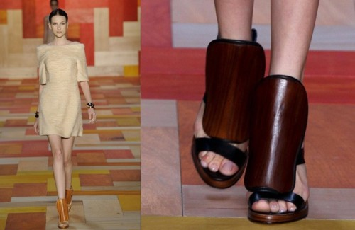 Lilac toenails and dark wooden sandals at Tufi Duek, San Paolo Fashion Week.