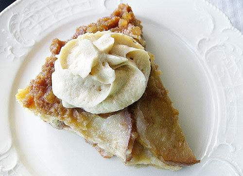 buk-cake:  Warm Pear and Ginger Upside-down Cake with Amaretto Whipped Cream http://www.ezrapoundcake.com/archives/1805