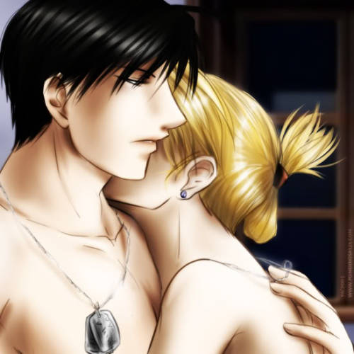 Roy Mustang and Riza Hawkeye of Full Metal Alchemist.
