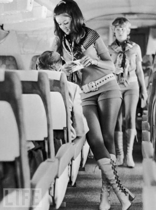 "When Flying Was Fun Women all over the world aspired to be flight attendants (""stewardesses,"" as they were once called). On Southwest Airlines (pictured), the motto was ""sex sells seats"" — and, for better or for worse, the attendants' outfits were fully in accordance.  via life"