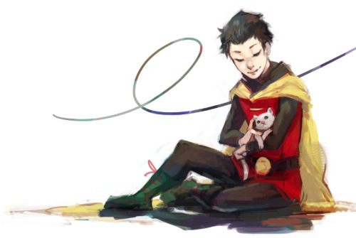 samarecarm:   Damian Wayyyyne? :D *sparkles*  FOR trepidity!! this is rough and disgusting and I can't draw cats or robins or anything I'm sorry. THANK YOU FOR REQUESTING DAMIAN THOUGH, kid needs more looooove  DAMIAAANNN AND A CAAATTTT this is the best day of my life