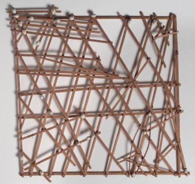 chart-navigational. 20th-mid century 20th century. bamboo, cowrie shells, twine. pacific islander, marshall islands.   In the Marshall Islands, navigation was, and remains, an essential skill on which the lives of the navigators and all who sailed with them depended. In the past, knowledge of the art of navigation was a closely guarded secret handed down within certain chiefly families. To assist in recalling and imparting aspects of navigational knowledge, navigators constructed diagrams representing different portions of the archipelago. Made from the sticklike midribs of coconut palm fronds, these objects were memory aids, created for personal use or to instruct novices, and the significance of each was known only to its maker. The charts were exclusively used on land, prior to a voyage. To carry one at sea would put a navigator's skill in question.  put me out to sea with one of these and you would never see me agian.  text via met image via mfa