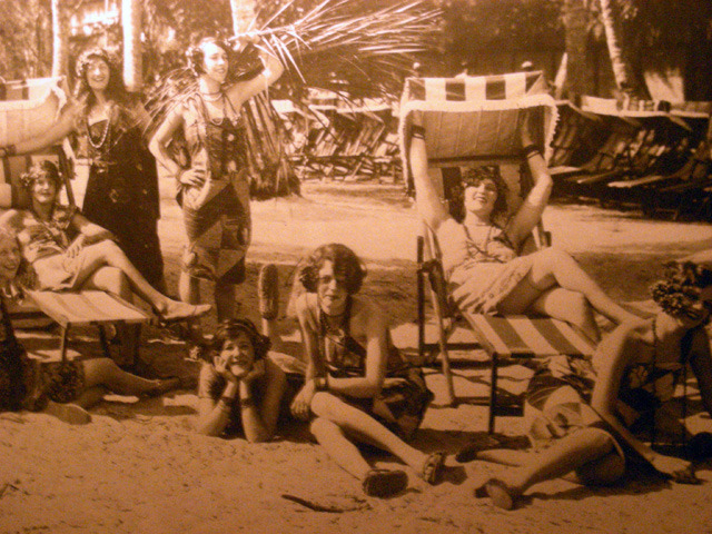 Flapper girls on the beach! One of the hundreds of historic photos lining the walls of the Biltmore Hotel, Miami