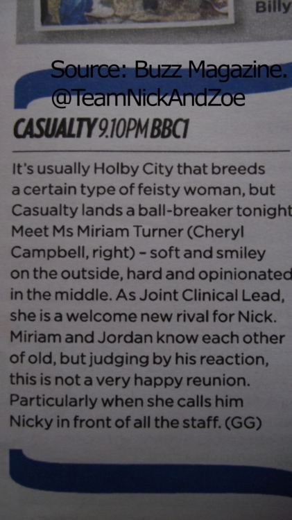ellie-lou:  Casualty teasers for tonights episode :) enjoy!