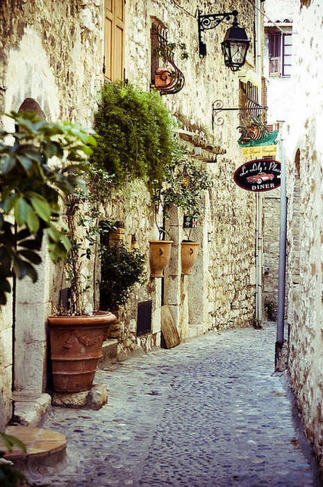 sunsurfer:  Cobblestone Street, Provence, France,  photo from danis
