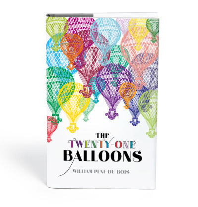 newcover:  The Twenty-One Balloons by William Pène du Bois Another one of my favorite children's books, The Twenty-One Balloons is an adventure tale that I'll let Wikipedia set up: The story begins with the rescue of Professor William Waterman Sherman, who was picked up by a steamship whilst floating among a strange wreck of twenty deflated gas balloons in the North Atlantic. Sherman, a recently retired schoolteacher, was last seen three weeks ago leaving San Francisco on a giant balloon, determined to spend a year drifting alone. The world waits breathlessly to find out how he could have circumnavigated the globe in record time and landed in the ocean with twenty balloons rather than the one with which he began his journey. After several days' rest and a hero's welcome, the professor recounts his journey before a captivated audience. In my dream world, this would be a limited edition of 100, with each of the 21 balloons on the cover hand-pressed (in differing places each time) making each of the covers unique.  This is just gorgeous. I had never heard of this book until checking out a new followers blog, but I'd love to read it. Children's novels are always interesting. What the author chooses to include and how they choose to include it tells a lot about what they think of young people need to hear before they grow up!