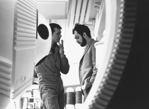 thefilmdirectory:  Gary Lockwood with Stanley Kubrick, Pod Bay set, 2001: A Space Odyssey