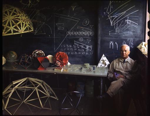 adamferriss:  R. Buckminster Fuller at Black Mountain College by Nancy Newhall ca. 1948 Color Transparency