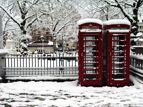 """and I never love England more than when covered in snow."""