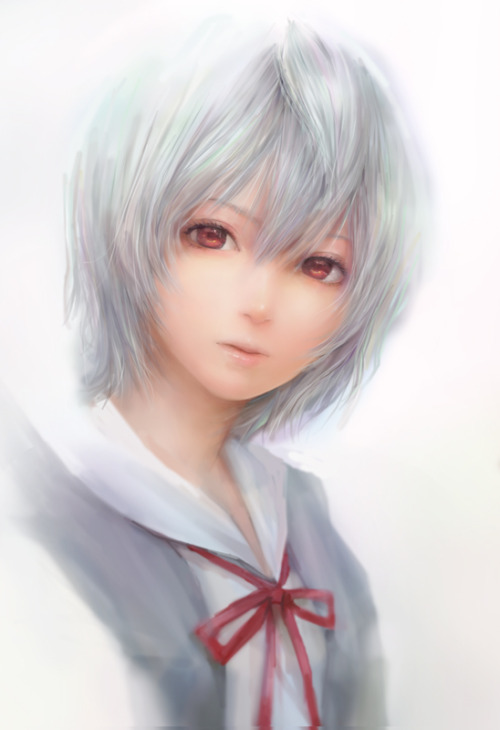 Image 40244: ayanami rei blue hair evangelion red eyes school uniform