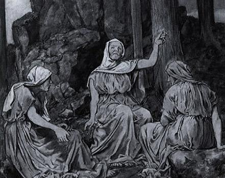 "The Norns (Old Norse: norn, plural: nornir) in Norse mythology are female beings who rule the destiny of gods and men, a kind of dísir comparable to the Fates in classical mythology. According to Snorri Sturluson's interpretation of the Völuspá, the three most important norns, Urðr (Wyrd), Verðandi and Skuld come out from a hall standing at the Well of Urðr (well of fate) and they draw water from the well and take sand that lies around it, which they pour overYggdrasill so that its branches will not rot.   These norns are described as three powerful maiden giantesses (Jotuns) whose arrival fromJötunheimr ended the golden age of the gods. They may be the same as the maidens of Mögþrasir who are described in Vafþrúðnismál .  Beside these three norns, there are many other norns who arrive when a person is born in order to determine his or her future. There were both malevolent and benevolent norns, and the former caused all the malevolent and tragic events in the world while the latter were kind and protective goddesses. Recent research has discussed the relation between the myths associated with norns and valkyries and the actual travelling Völvas (seiðr-workers), women who visited newborn children in the pre-Christian Norse societies.   Whereas the origin of the name norn is uncertain, it may derive from a word meaning ""to twine"" and which would refer to their twining the thread of fate. The name Urðr (Wyrd, Weird) means ""fate"". Both Urðr and Verðandi are derived from the Old Norse verb verða, ""to become"". While Urðrderives from the past tense (""that which became or happened""), Verðandi derives from the present tense of verða (""that which is happening"").Skuld is derived from the Old Norse verb skole/skulle, ""need/ought to be/shall be""; its meaning is ""that which should become, or that needs to occur""."