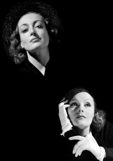 "Greta Garbo and Joan Crawford both starred in Grand Hotel in 1932. Crawford, who had no scenes with Garbo, was determined to get a look at her. No visitors were allowed on a Garbo set while she was filming and her fellow MGM contract players were not suppose to take the same route as Garbo did from her dressing room to the movie set. Crawford dared to take the same stairs as Garbo and came face to face with her idol. According to Crawford, ""She stopped and cupped my face in her hands and said, 'What a pity. Our first picture together, and we don't work with each other. I am so sorry. You have a marvelous face.' If there was ever a time in my life I might have become a lesbian that was it."""