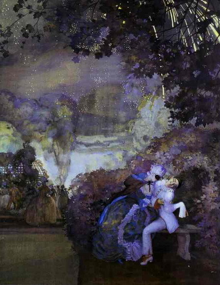 "windypoplarsroom:  Konstantin Somov ""Lady and Pierrot"" - (1910)"