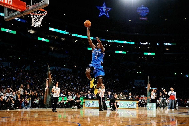 Serge Ibaka, the first man to dunk from behind the free throw line in the dunk contest? (Photo by Kevork Djansezian/Getty Images) (SK)