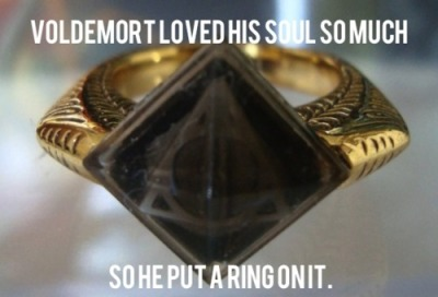 Actually, he put it in a stone in a ring.