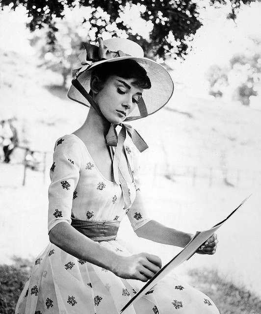 rosettes:  Audrey Hepburn sketches on the set of 'War & Peace'