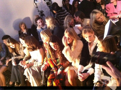 Star studded front row at Matthew Williamson - Valentine Fillol-Cordier, Poppy Delevigne, Savannah Miller and Yasmin Le Bon #LFW