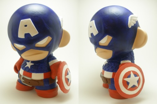 "Captain America Munny  - by xf4ll3n Artist note: Sculpted with Super Sculpey on a Kidrobot 7"" Munny and painted with Golden acrylics and Ceramcoat acrylics."