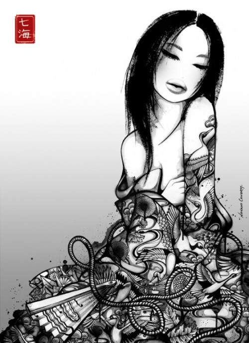 Beautiful b&w illustrations by Nanami Cowdroy [ via inspirefirst.com ]