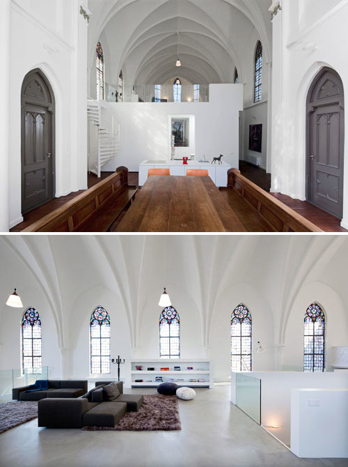 sara-white:  From church to home: Zecc Architects, based in the Netherlands, converted an abandoned church into an airy, modern residence full of gorgeous details like stained-glass windows and soaring ceilings.