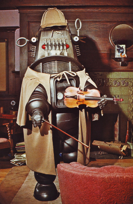 greggorysshocktheater:  Robby The Robot as a cybernetic Sherlock Holmes from an unaired TV pilot.   And why not? Insanity should be shared!